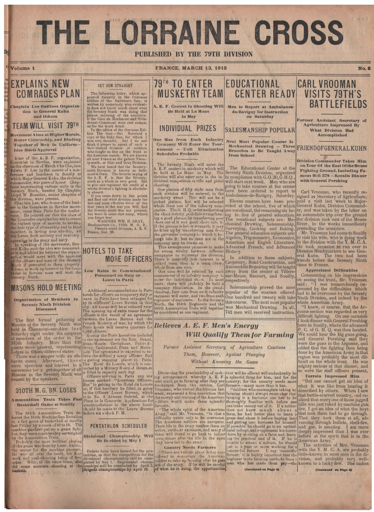 Lorraine Cross Newspaper Volume 1 Number 5 France March 13 1919 Page 1
