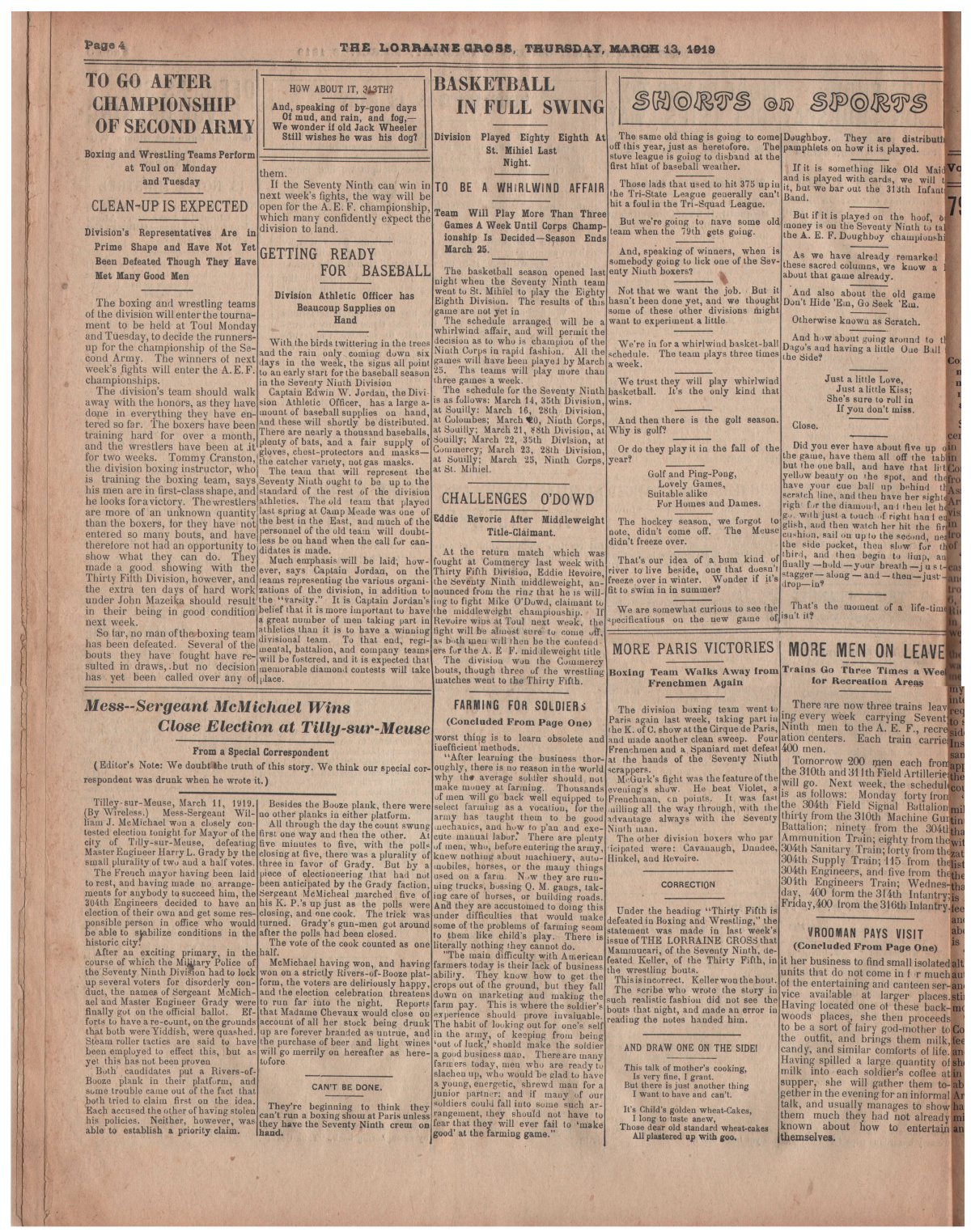 Lorraine Cross Newspaper Volume 1 Number 5 France March 13 1919 Page 4