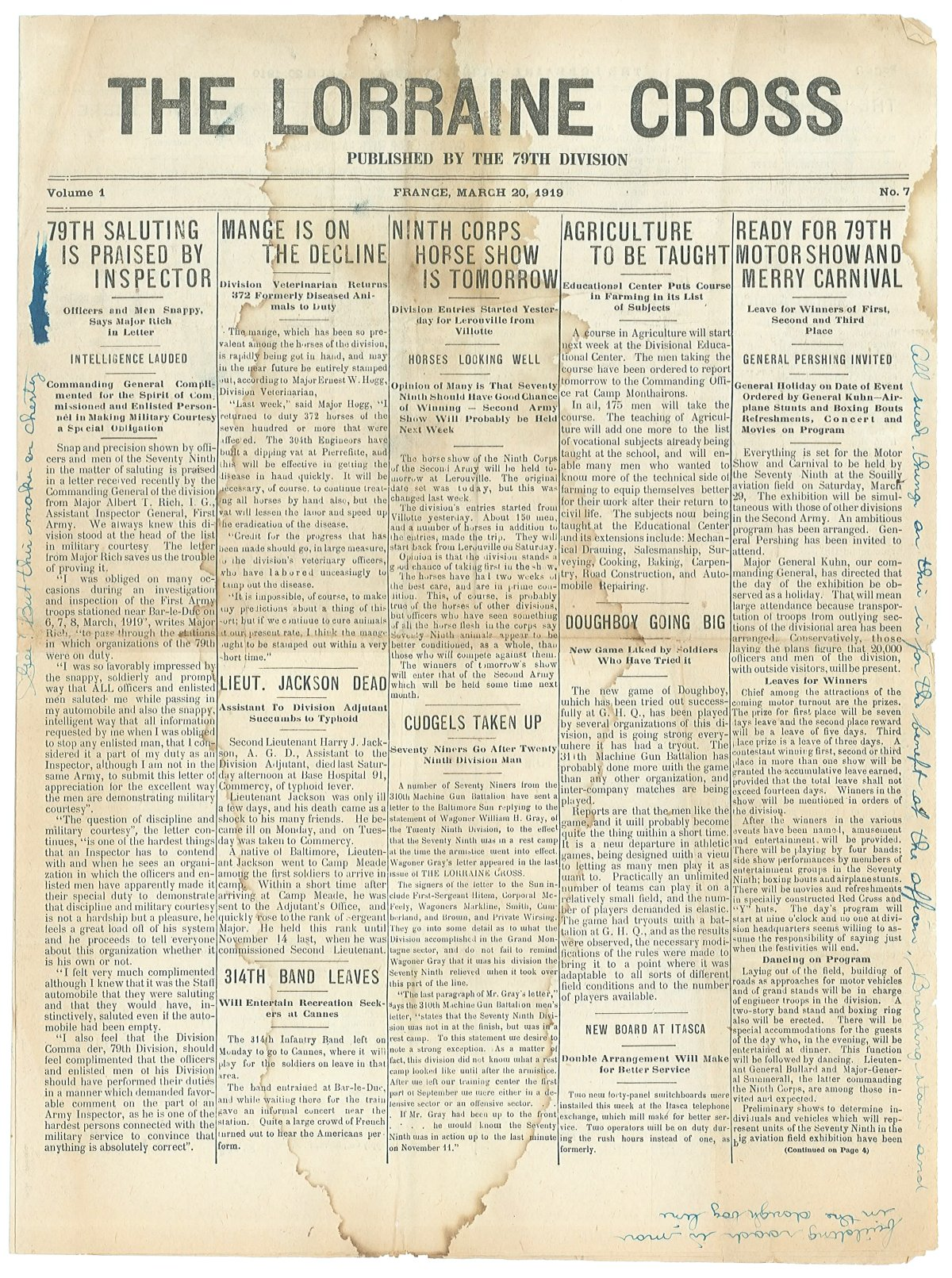 Lorraine Cross Newspaper Volume 1 Number 5 France March 20 1919 Page 1