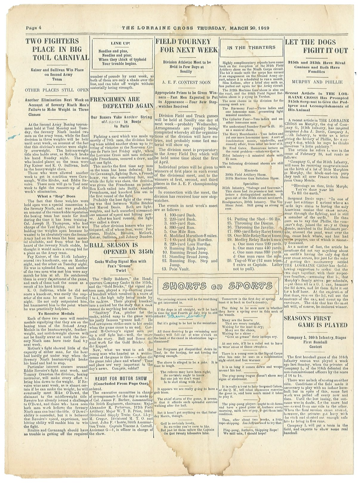 Lorraine Cross Newspaper Volume 1 Number 5 France March 20 1919 Page 4