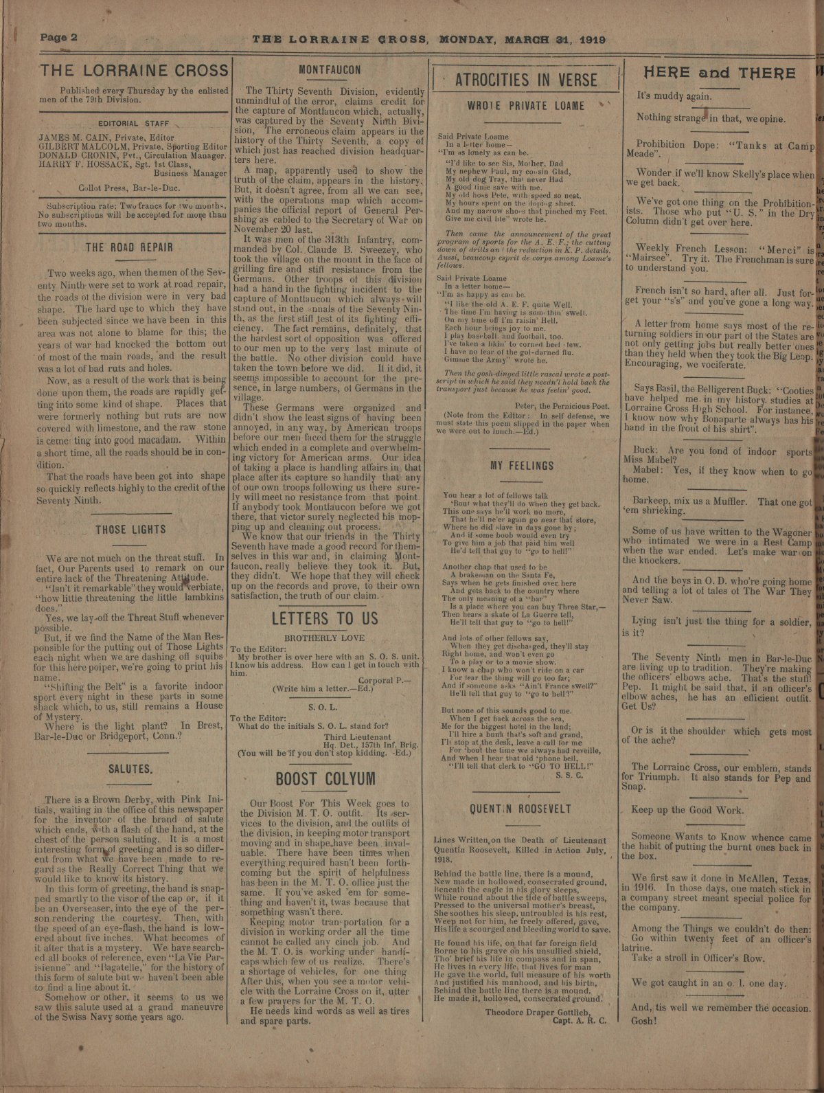 Lorraine Cross Newspaper Volume 1 Number 5 France March 31 1919 Page 2