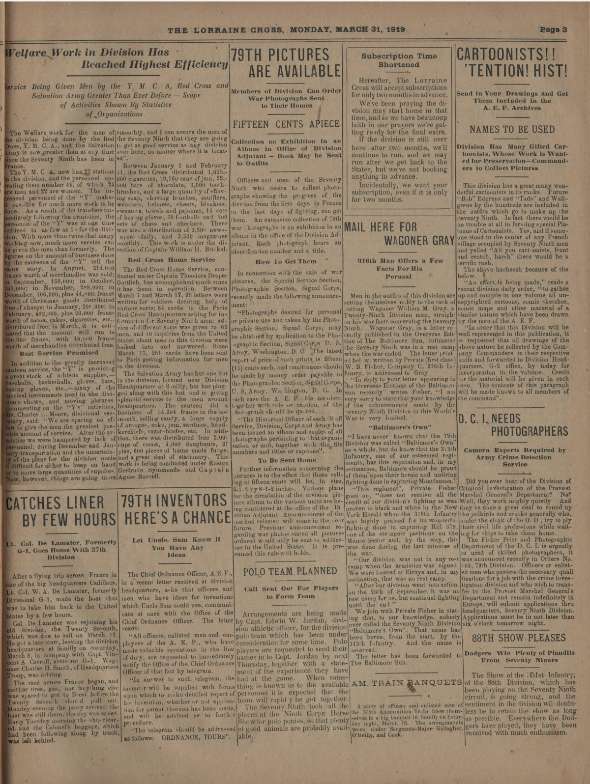 Lorraine Cross Newspaper Volume 1 Number 5 France March 31 1919 Page 3