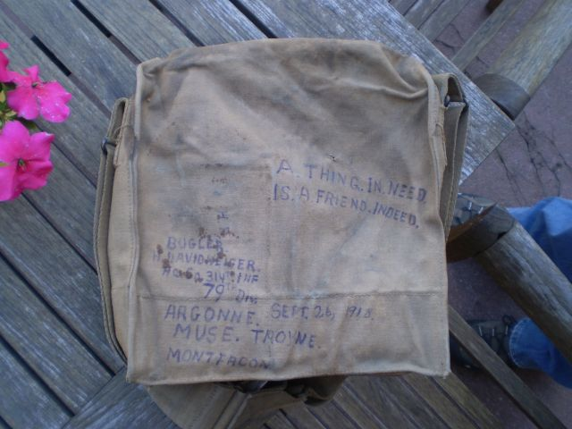 Gas Mask Bag Howard Davidheiser Bugler Headquarters HQ Company 314th Infantry Photo# 2