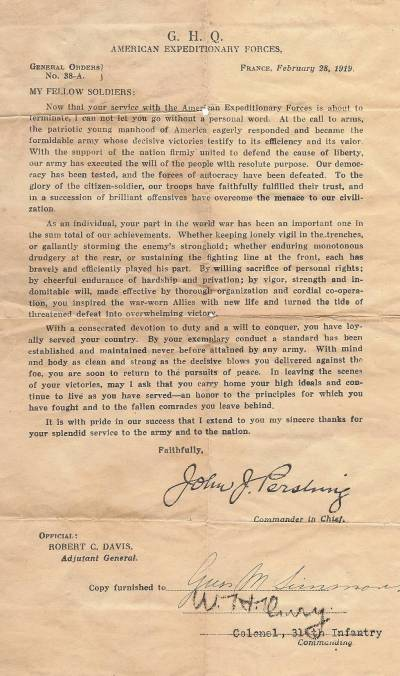 314th Infantry Regiment - February 28, 1919 - Letter from Pershing to Gus Mabry Simons - February 28, 1919