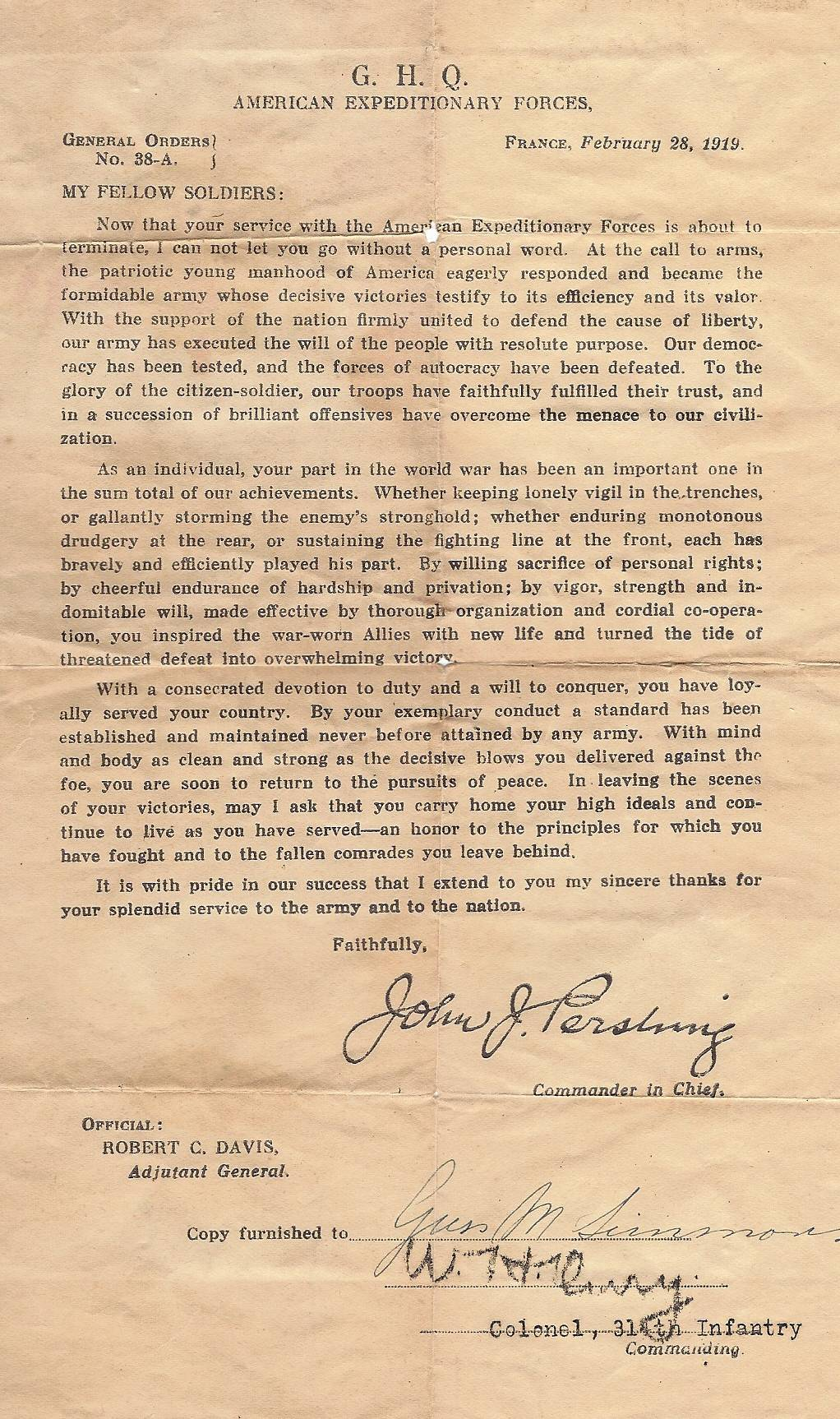 314th Infantry Regiment - Gus Mabry Simons - Letter from Commander in Chief Pershing February 28 1919