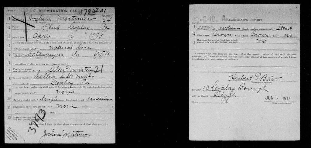 Joshua Mortimer, Company I, 314th Infantry - Registration Card - June 5, 1917