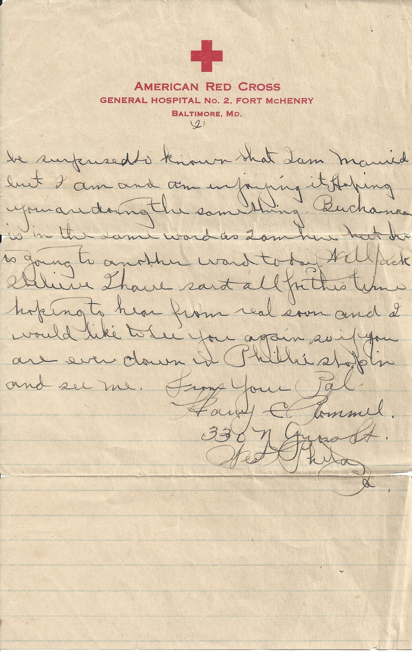 Letter from Harry Rommel in American Red Cross Hospital to John Blazosky 1919 - page 2