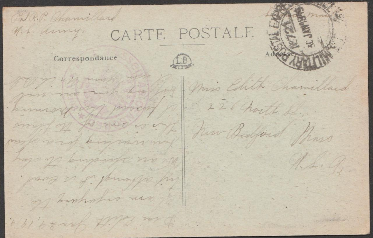 Postacard Robert P Chamillard 314th Infantry Company C sends to Miss Edith Chamillard 2